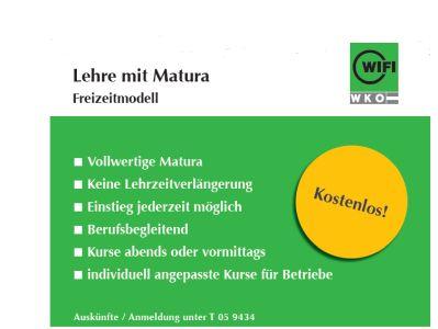 Foto Plakat Lehre mit Matura am WIFI Kärnten